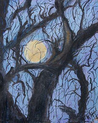 "Pastel Painting, Tree Painting, Expressionist Landscape ""Super Moon Sets"" by Colorado Artist Kit Hedman, Boarding House Studio Galleries"