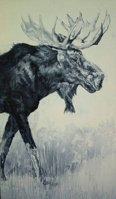 """Contemporary Wildlife Art, Moose, Fine Art Oil Painting """"Maximus"""" by Western Masters Artist Patricia A. Griffin"""