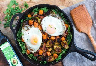 Brussels Sprouts, Bacon & Sweet Potato Hash with Eggs