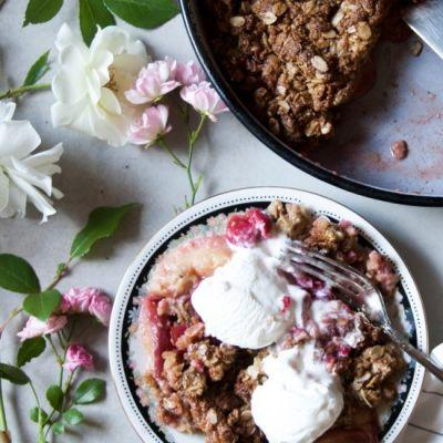 Peach and Cherry Crumble