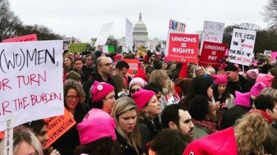 Thousands march in Washington for women's rights one day after Trump inauguration