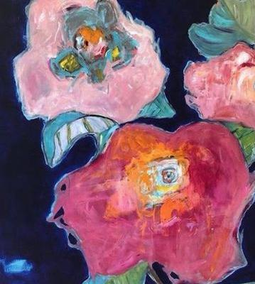 """Contemporary Expressionist Still Life Fine Art Painting """"Life Abound II"""" by Oklahoma Artist Nancy Junkin"""