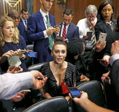 Alyssa Milano is supporting Christine Blasey Ford at the Kavanaugh hearings: 'I needed to be here to show solidarity'
