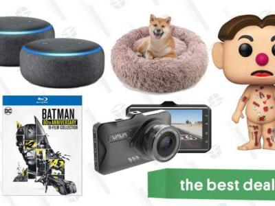Tuesday's Best Deals: Free Atlas Coffee, Echo Dot 2-Pack, Batman 18-Film Set, Vava Dash Cam, Plush Donut Dog Cushion, and More