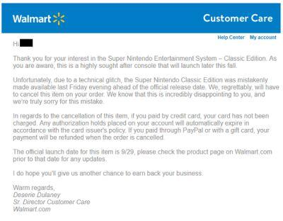 Seems Walmart is officially cancelling all SNES Classic Edition preorders