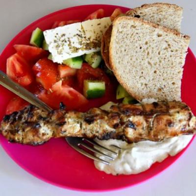 Grilled Chicken Souvlaki with Tzatziki Recipe from Karpathos, Greece