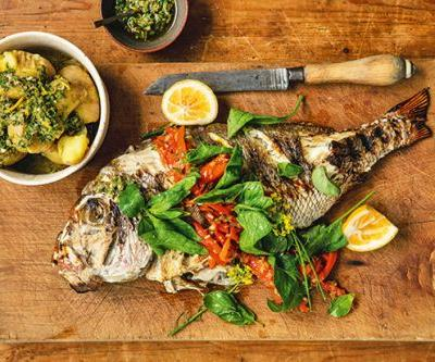 Recipe: Mike Van de Elzen's Barbecued Snapper with Peperonata and Potatoes