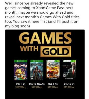 October Games with Gold announced early