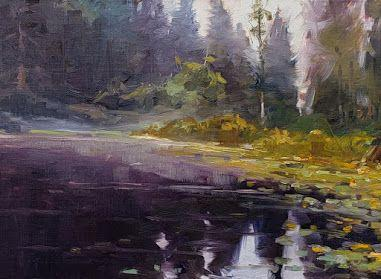"""""""Morning Mist"""" plein air, landscape painting by Robin Weiss"""