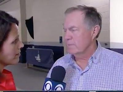 Bill Belichick appeared to stare down a reporter after being asked about the Patriots releasing Antonio Brown