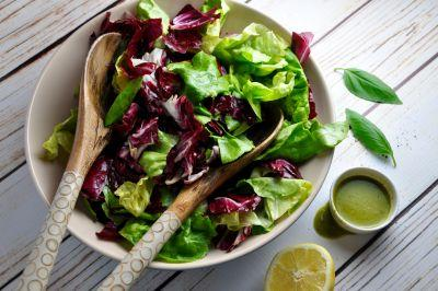 Radicchio and Butter Lettuce Salad with Basil Dressing
