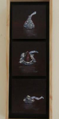 Kiss Stack - 11 x 4 inches - oil on board
