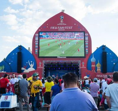 I went to the massive World Cup party in Moscow, Russia, where up to 25,000 fans celebrate the games