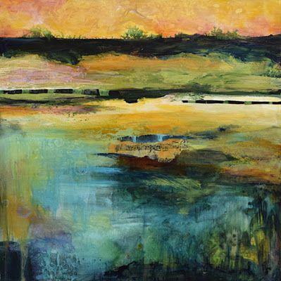 """Contemporary Landscape Art, Abstract Mixed Media Painting """"Forest Soundscape"""" by Santa Fe Contemporary Artist Sandra Duran Wilson"""