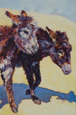 """Colorful Contemporary Animal Art, ,Donkey, Burro Farm Animal """" 2 Sisters"""" by Contemporary Animal Artist Patricia A. Griffin"""