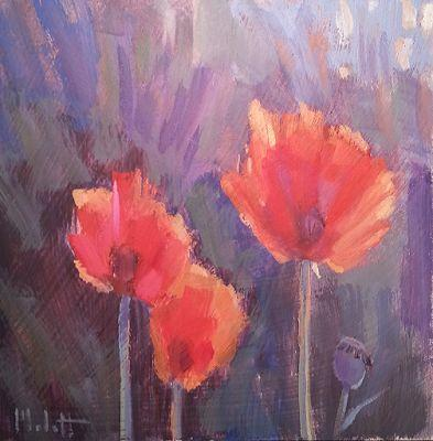 Poppies in the Garden Original Art Heidi Malott