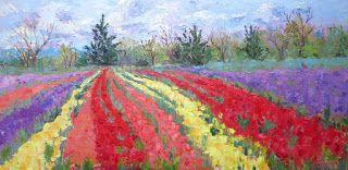 Tulip Explosion of Color, New Contemporary Landscape Painting by Sheri Jones