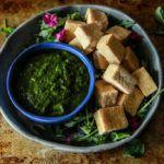 Fried Tofu with Chimichurri Dipping Sauce