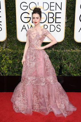 Lily Collins' princess gown kind of blew us away at the Golden