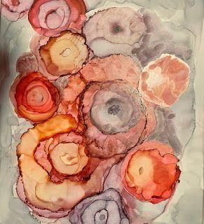 """Alcohol Inks, Abstract Painting, Contemporary Art """"The Bouquet on The Table"""" by Florida Artist Mary Ann Ziegler"""