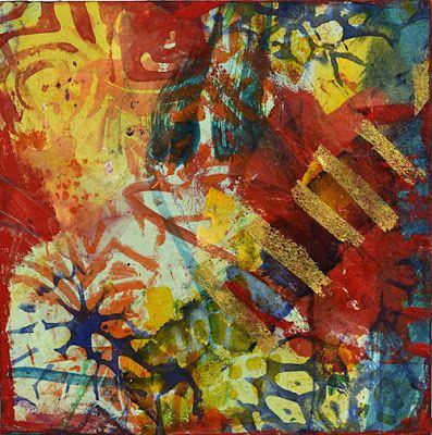 "Mixed Media Abstract Painting, Contemporary Art ""Celebrate Your Day"" by Santa Fe Contemporary Artist Sandra Duran Wilson"