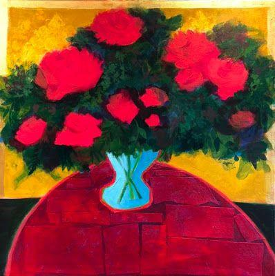 """Contemporary Expressionist Still Life Art Painting """"Roses for You"""" by Santa Fe Artist Annie O'Brien Gonzales"""