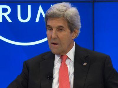 John Kerry awkwardly joked Trump may not serve out his full term while explaining why he can't tear up the Iran deal