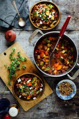 Smoky ratatouille with goat cheese and pine nuts