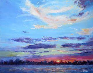 Lakeside Sunset, New Contemporary Landscape Painting by Sheri Jones
