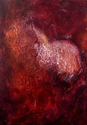 "Contemporary Abstract Art, Red Painting ""Heart Emerging"" by California Artist Cecelia Catherine Rappaport"
