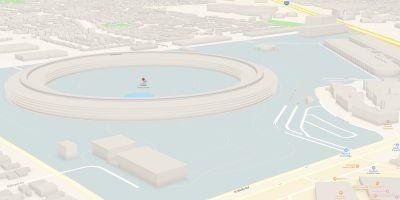 Apple Maps 3D images of Apple Park show buildings, walkways & fountain