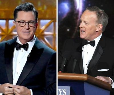 Sean Spicer Makes A WTF Appearance In Emmys Opening Sketch While Host Stephen Colbert Bombs
