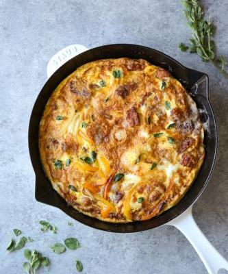 Italian Sausage Frittata with Peppers and Onions {Video}