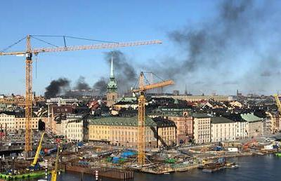 Bus EXPLODES in central Stockholm after 'accident'