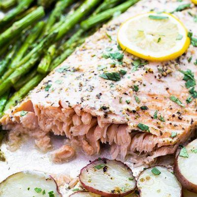 Sheet pan italian roasted salmon