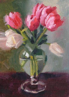 No. 874 Tulips in Glass Vase