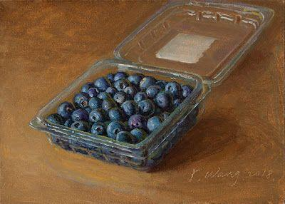 Blueberries in a plastic container still life oil painting small original contemporary realism