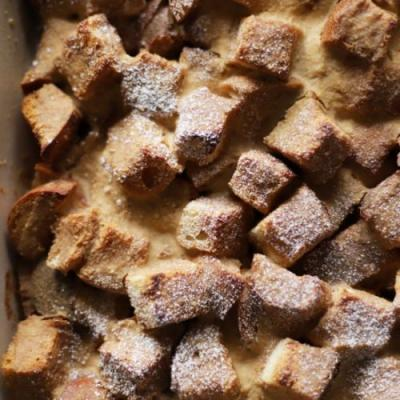Cardamom tea french toast casserole