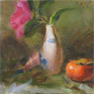 Persimmon, sake cup and flower painting