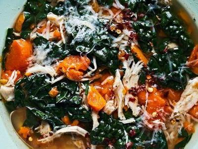 The Best Chicken Soup with Rice, Carrots, and Kale