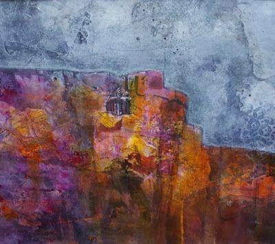 """Mixed Media, Contemporary Abstract Landscape Art """"DWELLING NESTLED IN THE WESTERN SKY"""" by Contemporary Artist Gerri Calpin"""