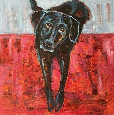 "Pet Portrait, Dog Painting,Contemporary Fine Art ""DUNCAN THE DOG"" by Artist Carolyn Zbavitel"