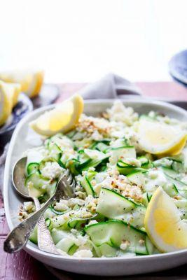 Zucchini ribbon salad with hazelnuts and feta