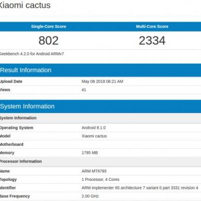 Xiaomi 'cactus' Surfaces On Geekbench With 2GB Of RAM