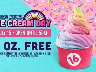 16 Handles Celebrates National Ice Cream Day with Free Ice Cream and Launches First Gelato Flavor