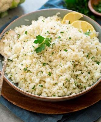 Cauliflower Rice {with Garlic and Parmesan}