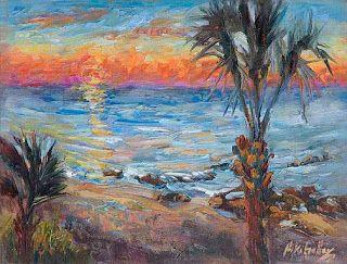 """Sun Up in Paradise"" Palette Knife Seashore painting by Niki Gulley"