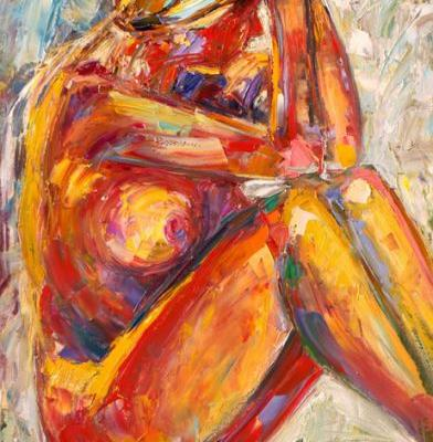 "Abstract Female Nude Painting,Palette Knife Figure ""Lady"" by Texas Artist Debra Hurd"