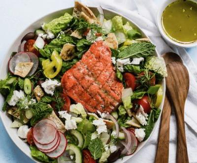 Greek Fattoush Salad and Grilled Salmon