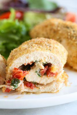 Sun Dried Tomato and Cheese Stuffed Chicken Rollatini